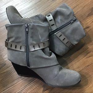 Blowfish | Gray Wedge Heel Booties w/ Inside Zip